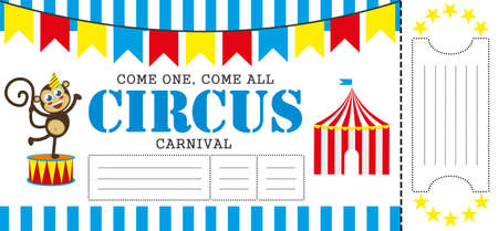 Birthday card with Circus Ticket pass design Template. Illustration Illustration