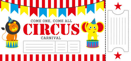circus ticket: Birthday card with Circus Ticket pass design Template. Illustration Illustration