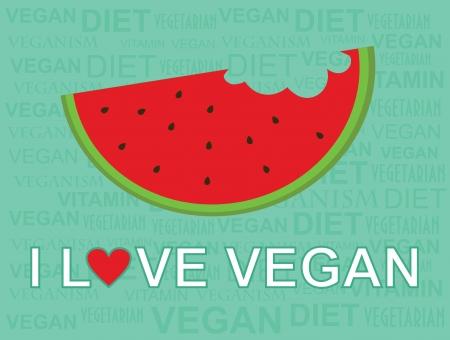love stamp: i love vegan card design  vector illustration