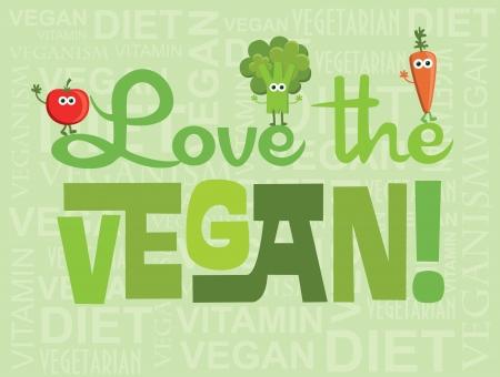 love stamp: vegan card design. vector illustration
