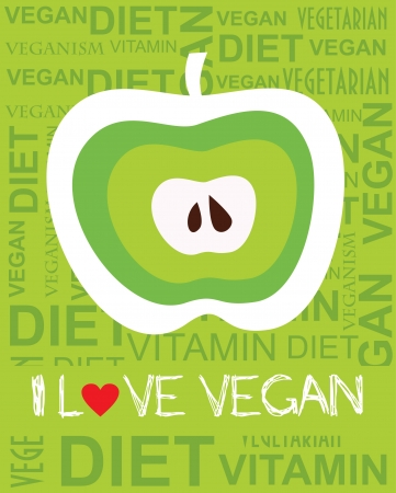 i love vegan card design. vector illustration Vector