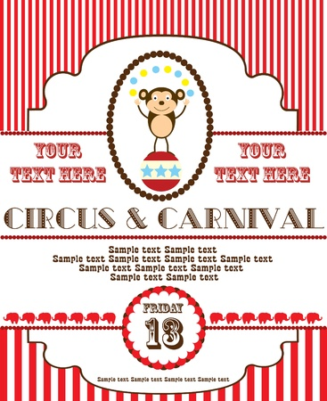 fete: cute circus card design. vector illustration Illustration