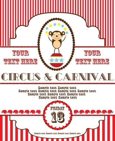 animales de circo: dise?o de la tarjeta de circo lindo. ilustraci?n vectorial