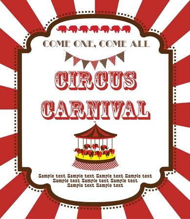CARNAVAL: dise?e la tarjeta de circo lindo. ilustraci?ectorial Vectores
