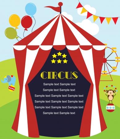 палатка: милые цирка дизайна карты. векторные иллюстрации