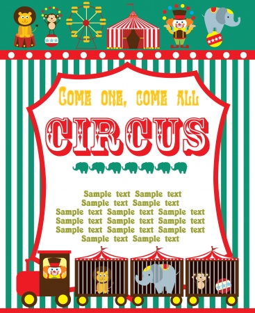 circus elephant: cute circus card design. vector illustration Illustration