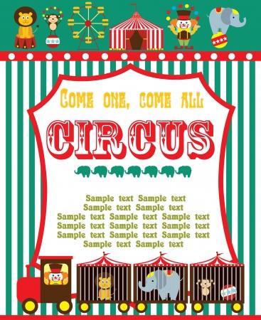 circus animals: dise�o de la tarjeta de circo lindo. ilustraci�n vectorial Vectores