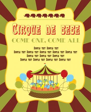 merry go round: cute circus card design  vector illustration