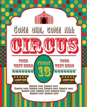 vintage carnival: cute circus card design  vector illustration