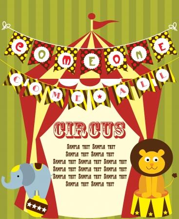 big top tent: cute circus card design  vector illustration