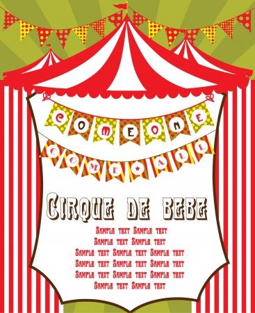 entertainment tent: circo lindo dise�o de tarjeta de ilustraci�n vectorial Vectores