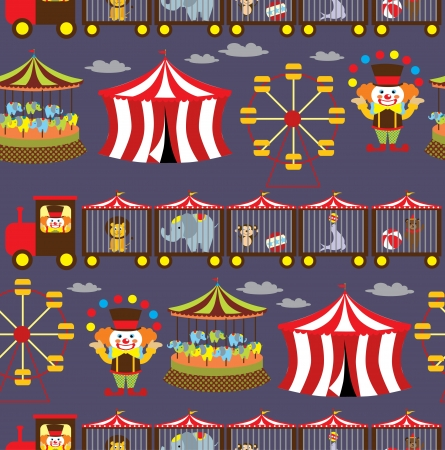 merry go round: seamless circus background  vector illustration