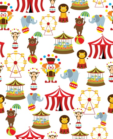 circus clown: seamless circus background  vector illustration