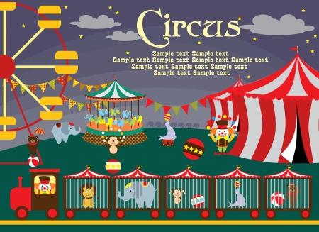 cirkusz: csinos cirkusz kártya tervezés vektoros illusztráció