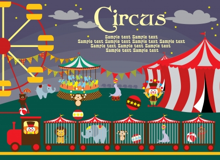 clown cirque: mignon cirque carte illustration vectorielle design