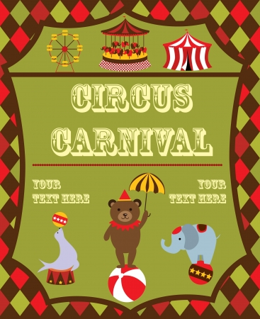 merry go round: cute circus card design  vector illustration