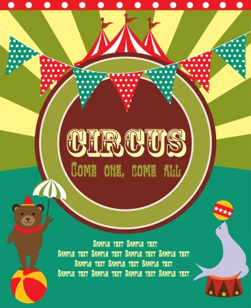 carnival background: cute circus card design  vector illustration