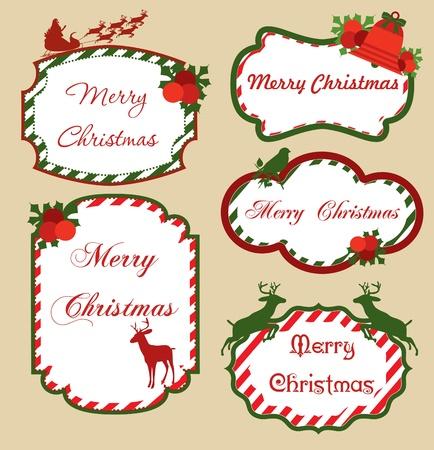time frame: christmas frame set design. vector illustration Illustration