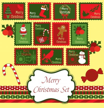 christmas frame set design  vector illustration Illustration