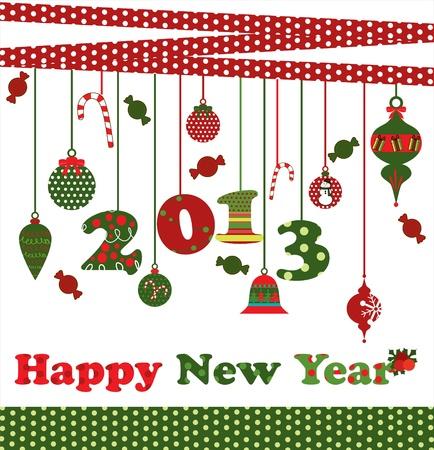 happy new year card  vector illustration Stock Vector - 19252531