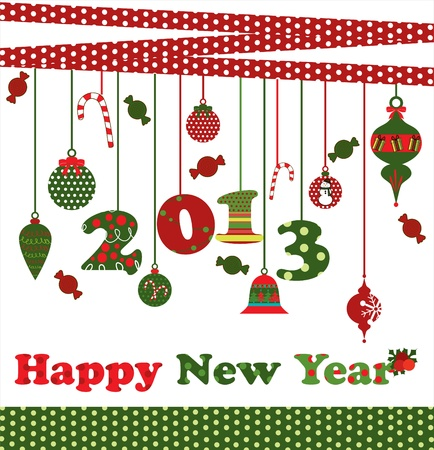 happy new year card  vector illustration Stock Vector - 19252531