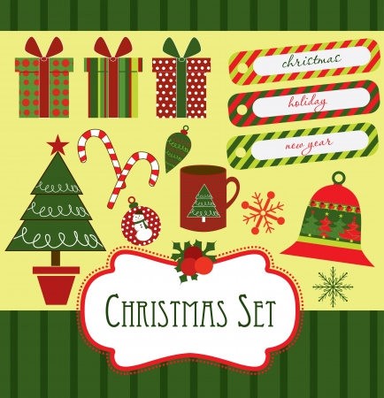 christmas scrapbook collection  vector illustration Stock Vector - 19252451