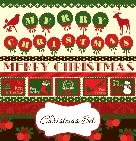 red deer: christmas scrapbook collection  vector illustration