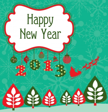 happy new year card  vector illustration Stock Vector - 19252324