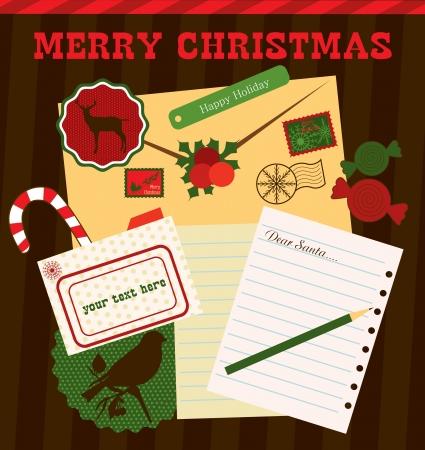 christmas scrapbook collection  vector illustration Vector