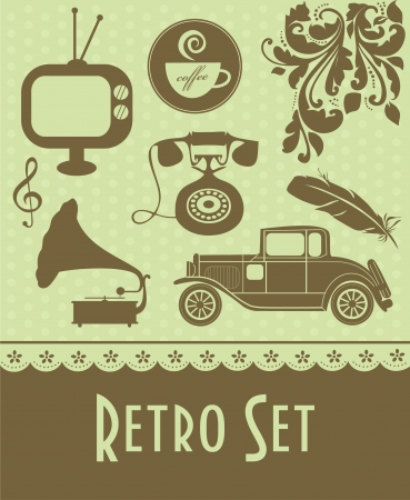 old telephone: retro objects set. vector illustration Illustration