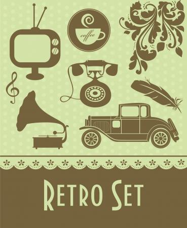 old phone: retro objects set. vector illustration Illustration