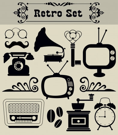 old phone: retro objects set. vector illustration Illustration