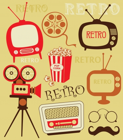 retro objects set. vector illustration Illustration