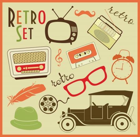 antique car: retro objects set. vector illustration Illustration