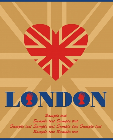 bandera de gran bretaña: Diseño de tarjetas de Londres. ilustración vectorial