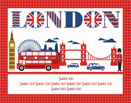 english text: London card design. vector illustration Illustration