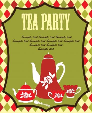 holiday invitation: tea party card. vector illustration