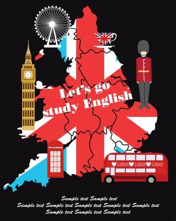 land mark: Dise�o de tarjetas de Londres. ilustraci�n vectorial