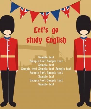 bandiera inglese: Card design Londra. illustrazione vettoriale Vettoriali