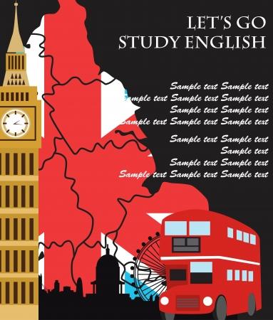 land mark: Dise?o de tarjetas de Londres. ilustraci?n vectorial