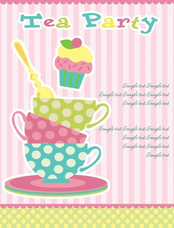 serviette: tea party card. vector illustration