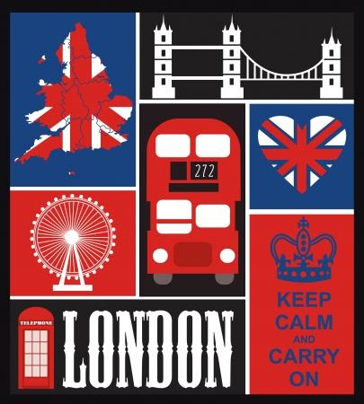 heart and crown: Card design Londra. illustrazione vettoriale Vettoriali