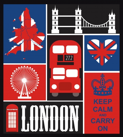 heart with crown: London card design. vector illustration Illustration