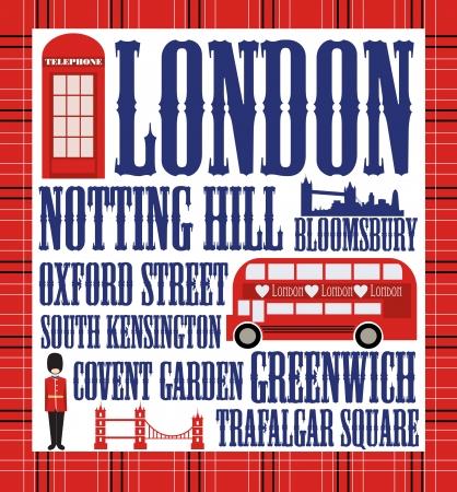 bus anglais: Londres carte de dessin vectoriel illustration