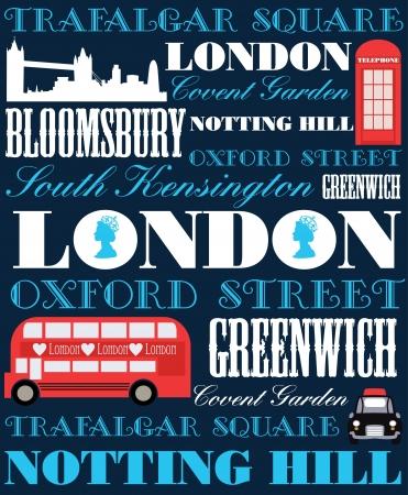 white sticker: London card design  vector illustration