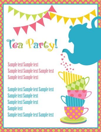 invitación a fiesta: la hora del té tarjeta de ilustración vectorial