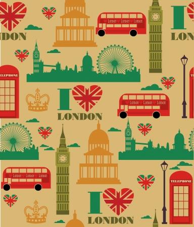 travel card: london seamless pattern design  vector illustration Illustration