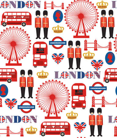 british culture: london seamless pattern design  vector illustration Illustration