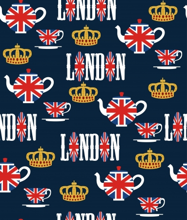 english culture: london seamless pattern design  vector illustration Illustration