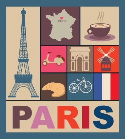 land mark: Paris tarjeta de dise?ilustraci?ectorial